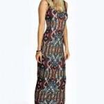 Anna Aztec Scoop Neck Maxi Dress
