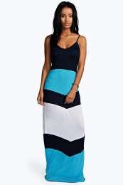 Chevron Panel Maxi Dress