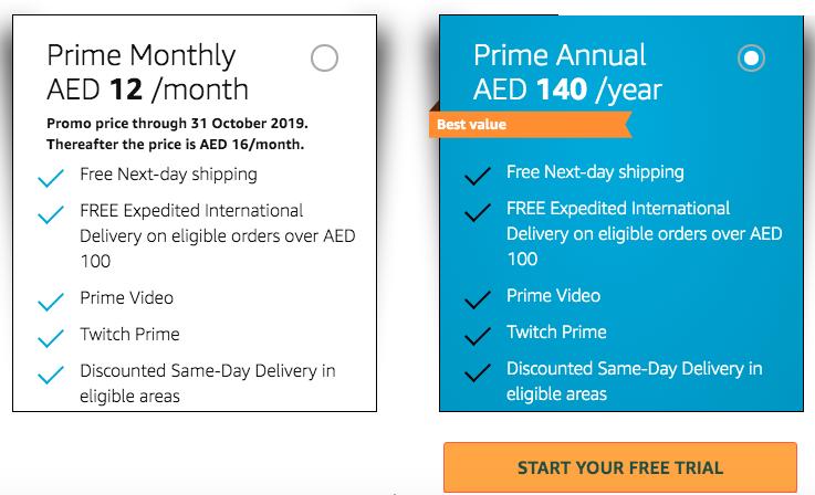 free shipping with amazon prime uae