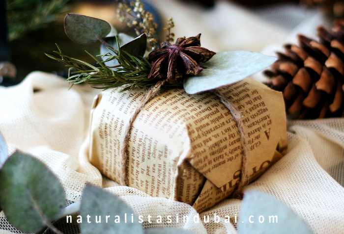 Eco friendly gift wrapping with newspapers